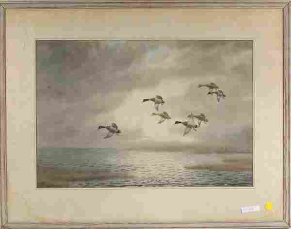 "American School, ""Geese In Flight"" W/P"