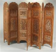Two Pierce Carved Indian Wood 4 Panel Screens