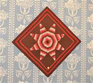 Miniature Sioux Star Quilt Mounted On Wood Backing