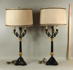 Pair Parcel Gilt Bronze Neoclassical Candlesticks