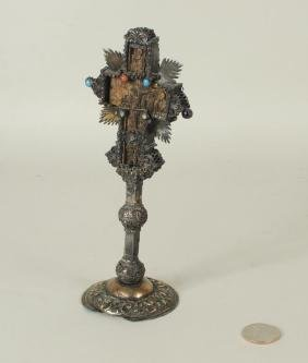 Early Eastern Orthodox Carved, Metal Mounted Cross