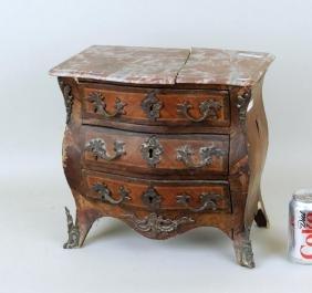 Miniature Louis XV Style Veneered 3-Drawer Commode