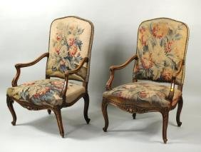 Pair French Carved Wood Upholstered Armchairs