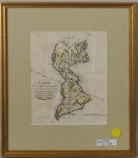 """Hand Colored Map """"Carte Du Nouveau Continent"""""""