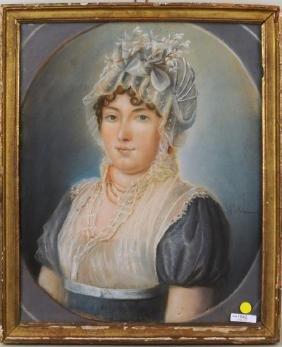 """French School """"Portrait Of Lady In Bonnet"""""""