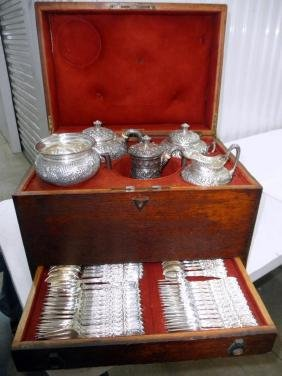 Tiffany Cased Sterling Silver Tea/Flatware Service