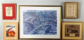 Five Framed Decorative Works, Teodorescu W/C