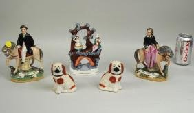 Group Five Staffordshire Pottery Items
