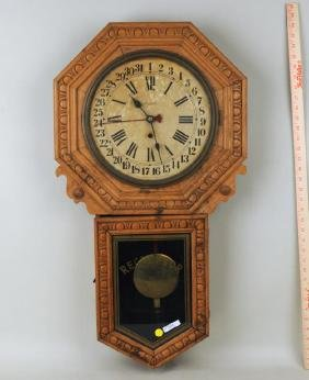 Waterbury Oak Regulator Clock