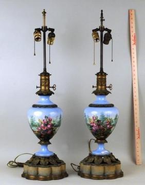 Pair Paris Porcelain Hand Painted Fluid Lamps