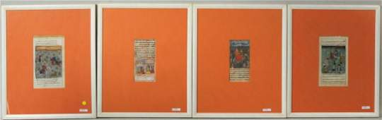 Group Four Framed Illustrated Manuscript Pages