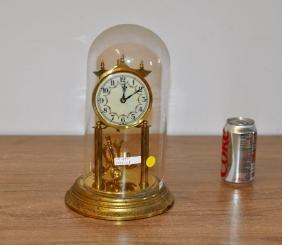 German Brass Anniversary Clock, Enamel Dial
