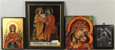 Four Icons Including A Reverse Glass Painted Image