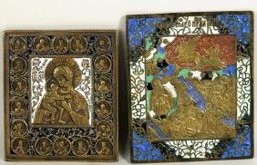 Two Russian Enameled Brass Icons