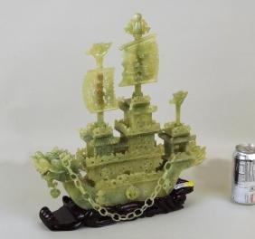 Asian Carved Hardstone Dragon Boat