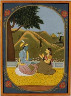 Indian Painting Of Radha & Krishna In Grove
