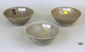 Three Chinese Porcelain Yuan/Ming Shipwreck Bowls