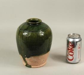 Chinese Yuan Green Glazed Pottery Jar