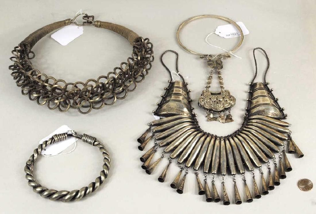 Group 4 Chinese Miao Culture Silver Necklaces