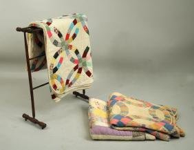 Group Three Vintage American Quilts & Quilt Rack
