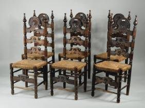 Six Spanish Style Carved Walnut Dining Chairs