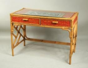 Bamboo & Rattan Glass Top Two Drawer Desk