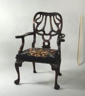 George II Style Carved Mahogany Open Armchair