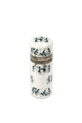 c1870 black figures white enamel scent bottle