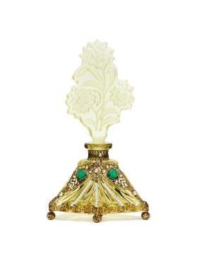 1920s Czech yellow crystal perfume bottle
