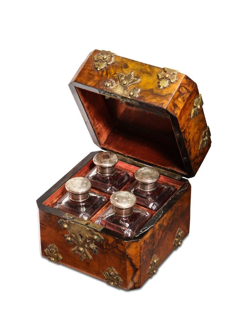 1880s German 4 bottle wooden scent case