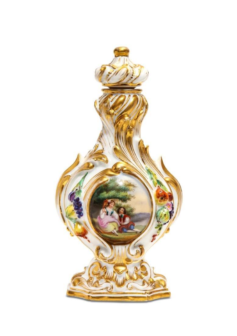 "1860s French ""Old Paris"" porcelain perfume bottle"