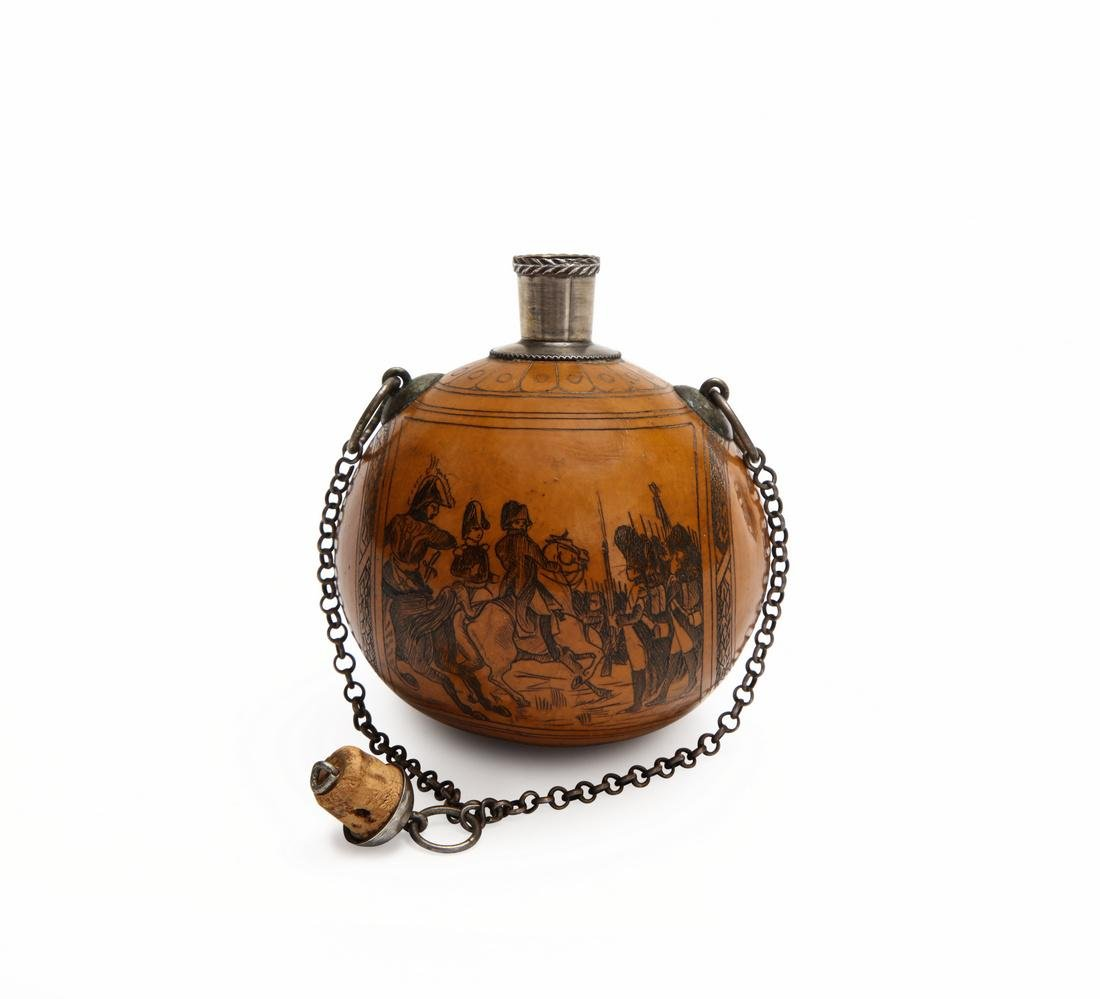 1850s French hand carved miniature gourd scent bottle