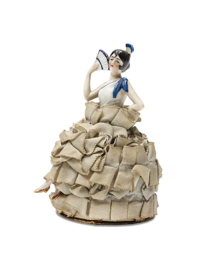 1920s German porcelain half doll powderbox