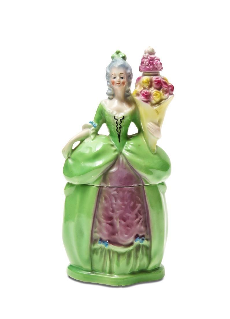 1920s Bavarian porcelain powder box and perfume bottle