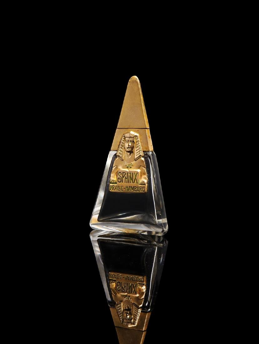 1920s Dralle  Sphinx  clear glass perfume bottle