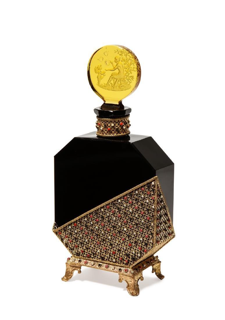1920s Czech Hoffmann black crystal perfume bottle