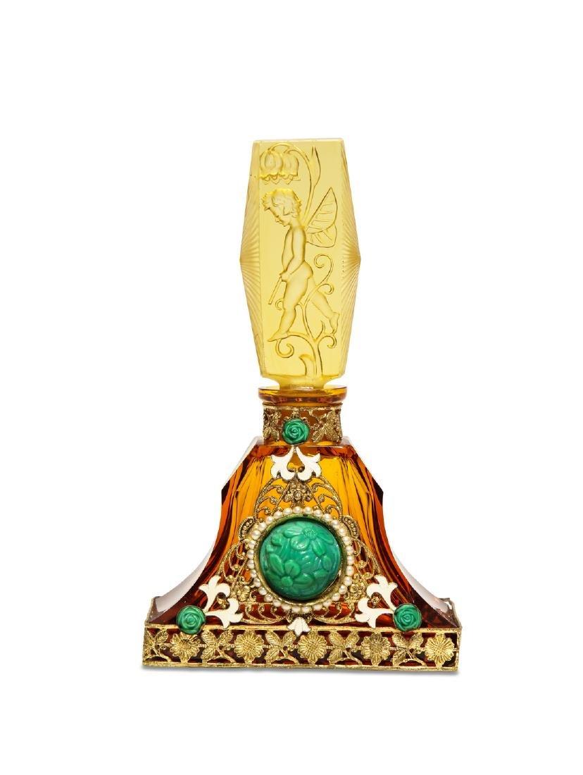 1930s Czech - Ingrid amber crystal perfume bottle