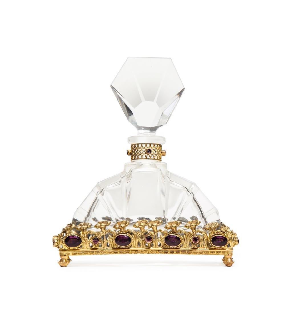 1930s Czech clear crystal perfume bottle
