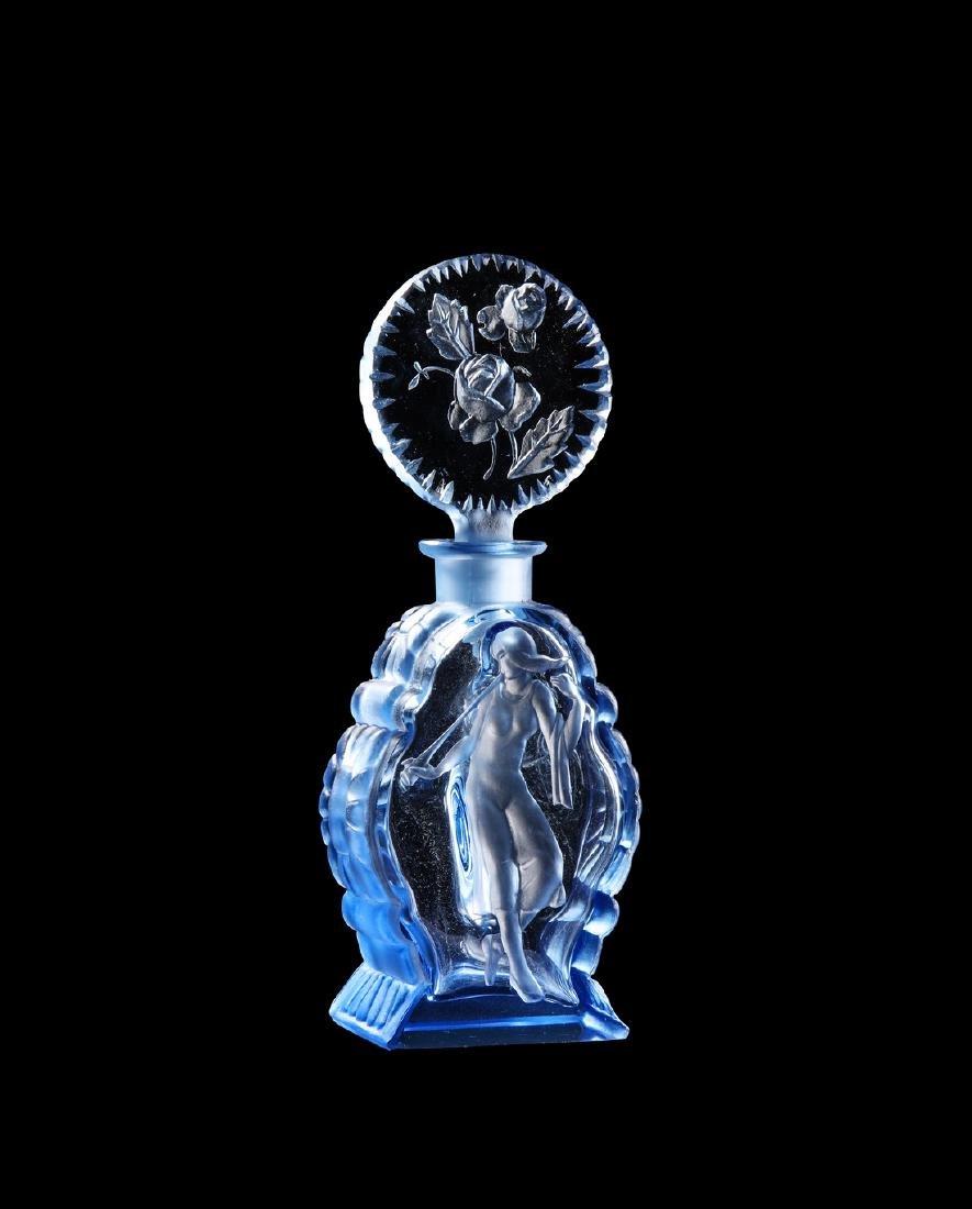 1930s Czech blue crystal intaglio perfume bottle
