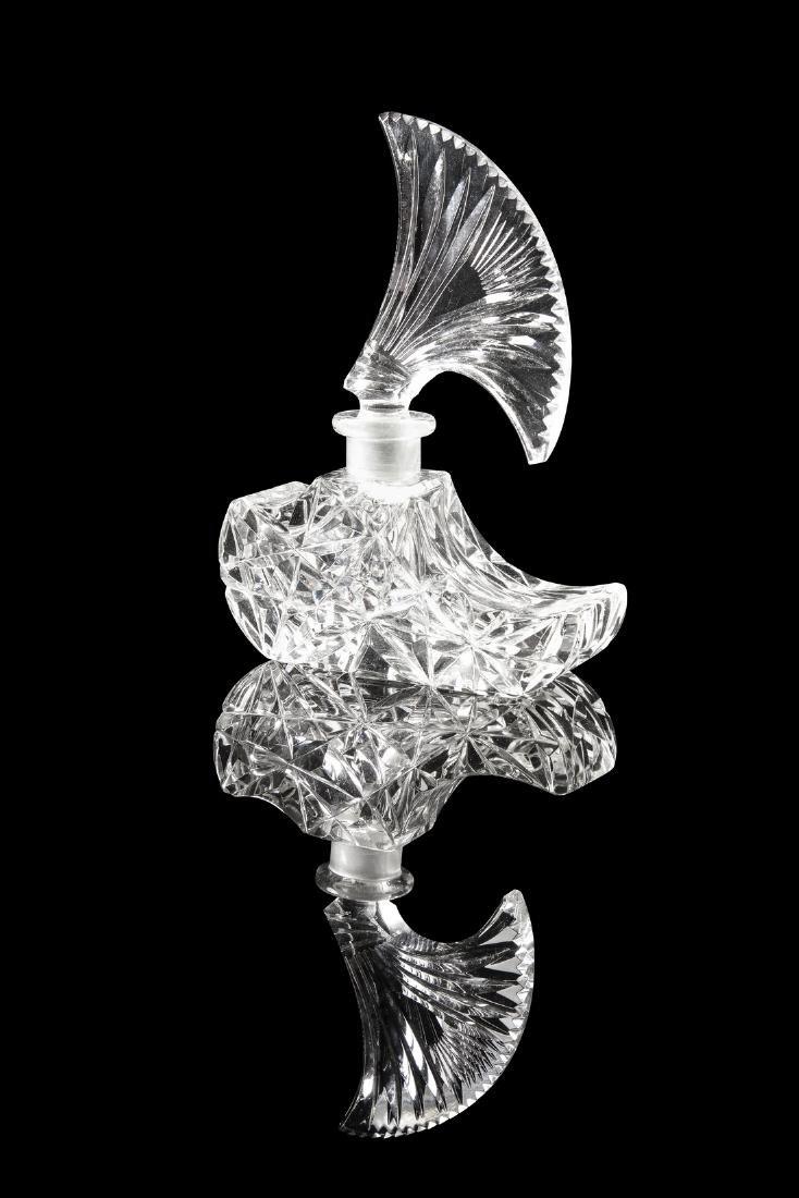1930s Czechoslovakian clear crystal perfume bottle