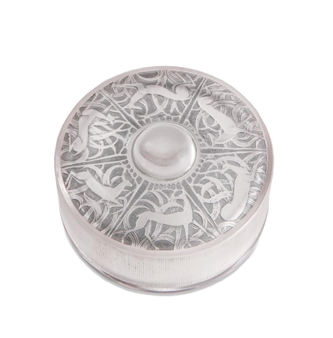 "1924 R. Lalique ""Chantilly"" powder box"