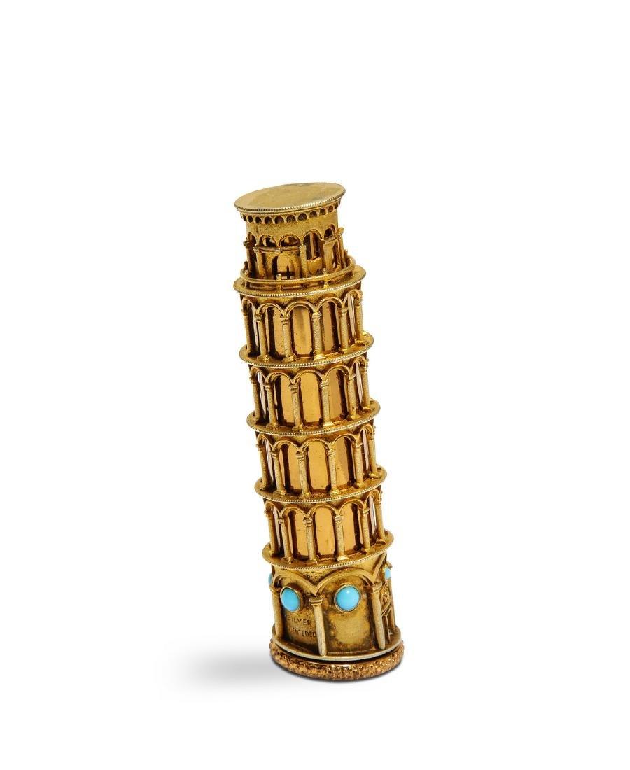 "1950s Italian ""Tower of Silver"" lipstick case"