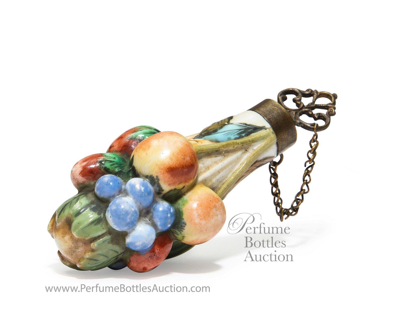18th c. Chelsea Antique Scent Bottle Porcelain Fruit