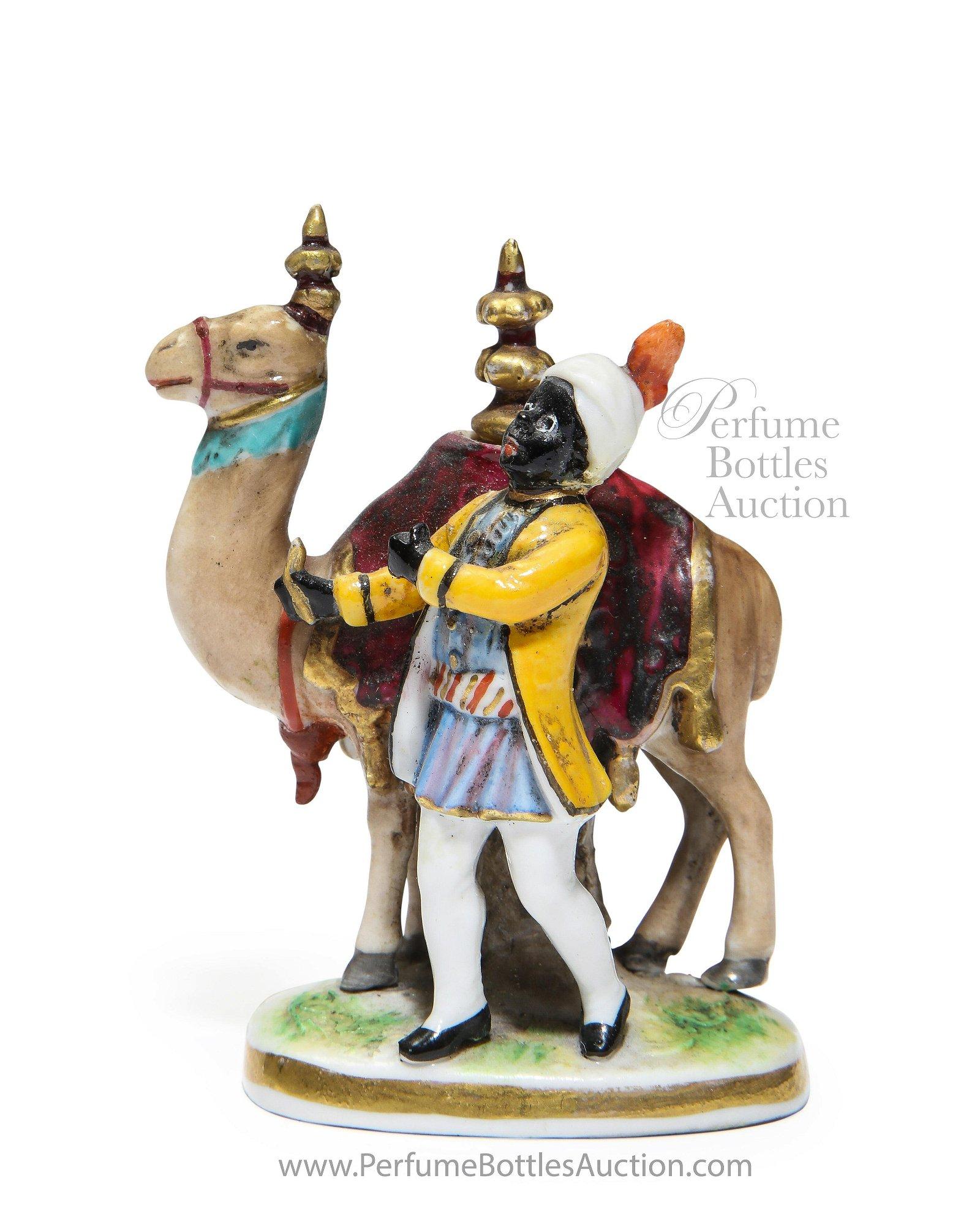 19th c. Old Paris Antique Scent Bottle Porcelain Camel
