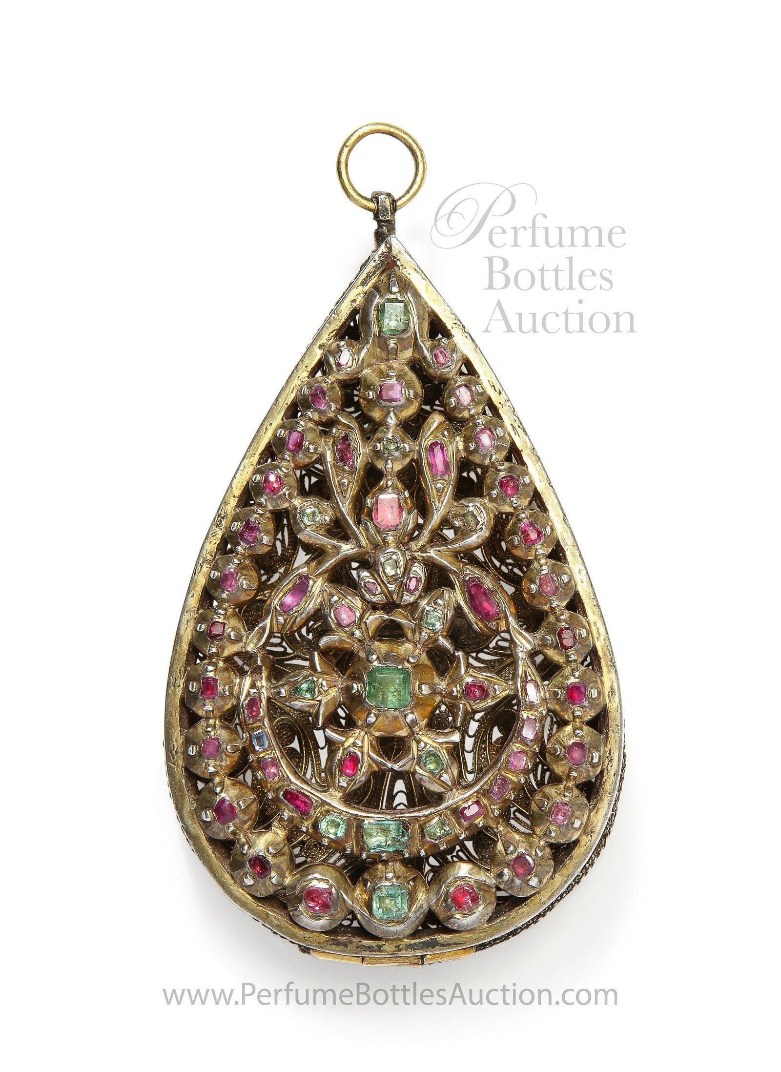 18th-19th c. Mid-Eastern ruby emerald silver pendant