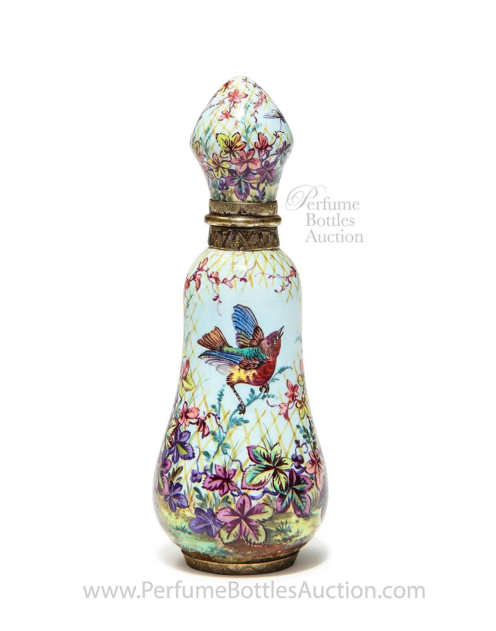 19th c. French Enamel Antique Scent Bottle