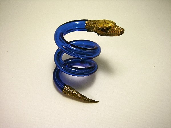 2: 19th c. Snake Scent Bottle in Cased Blue Crystal