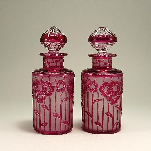 11: 20s Crystal-Nancy Cut Cranberry Perfume Bottles