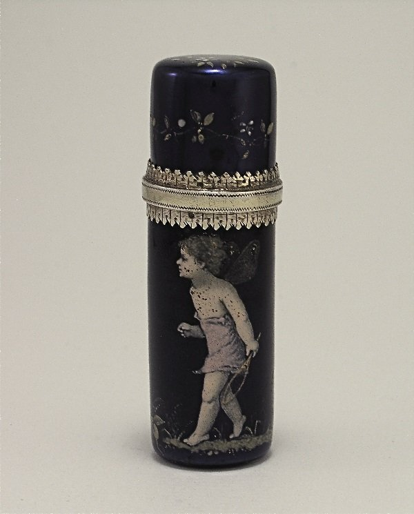 15: c.1860 French scent bottle in Enameled Silver