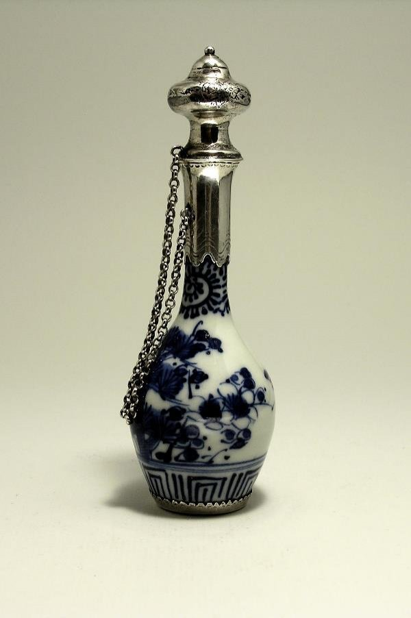 17: 19th c. Silver Mounted Chinese Porcelain Perfume